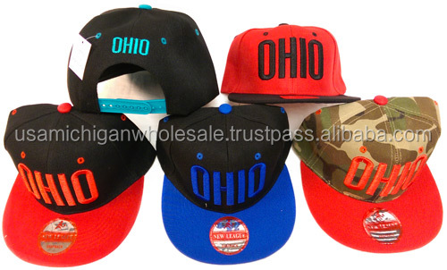 Ohio Flat Bill Snap Back Hats Caps Assorted