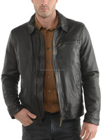 Special Design Wholesale Price Fashion Coat Black Man Leather Jacket 2015