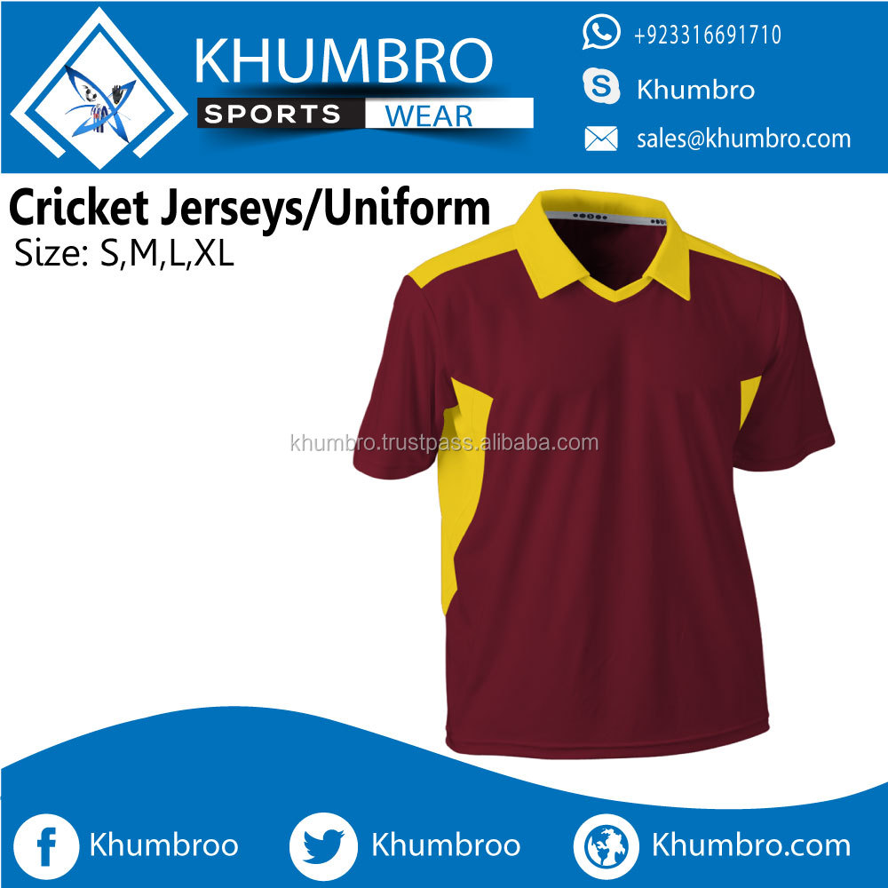 Custom Strong Fabric Sublimation Cricket Uniform