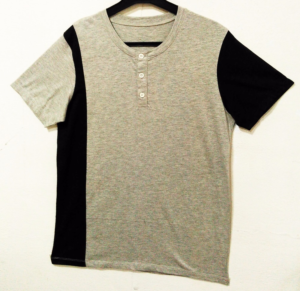 100% ORGANIC COTTON MENS with Woven Trim Henley T-SHIRT