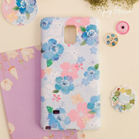 illust Casing Flip Case Cover for Cell phone / Flower blossom pattern / Pink blossom, Blue blossom