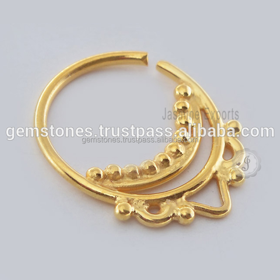 Wholesale Gold Plated Septum Nose Ring Body Jewelry, Handmade Indian Septum Piercing Nose Ring Suppliers