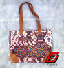 Leather Mayan Tote Bag With Huipil