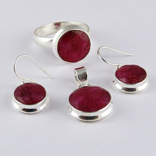 Exclusive Red Round Shape Ruby 925 Sterling Silver Gemstone Set, Semi Precious Stone Silver Jewelry, Unique Silver Jewelry