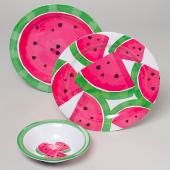 DINNERWARE MELAMINE WATERMELON 96PC FLOOR DISPLAY #G05368