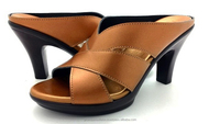 Leather sandals without strap for lady