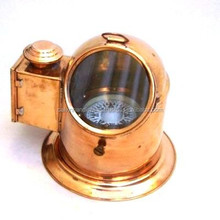 Copper and Brass Binnacle Compass with Oil lamp CHX130096