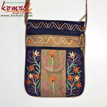 Colourful suede leather embroidery fashion girls sling bag handmade