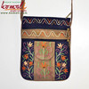 Suede Leather Hand Indian Embroidered Fashion Sling Bag - Blue Brown Floral Design Sling Bag With Front Pocket - Neon Colors
