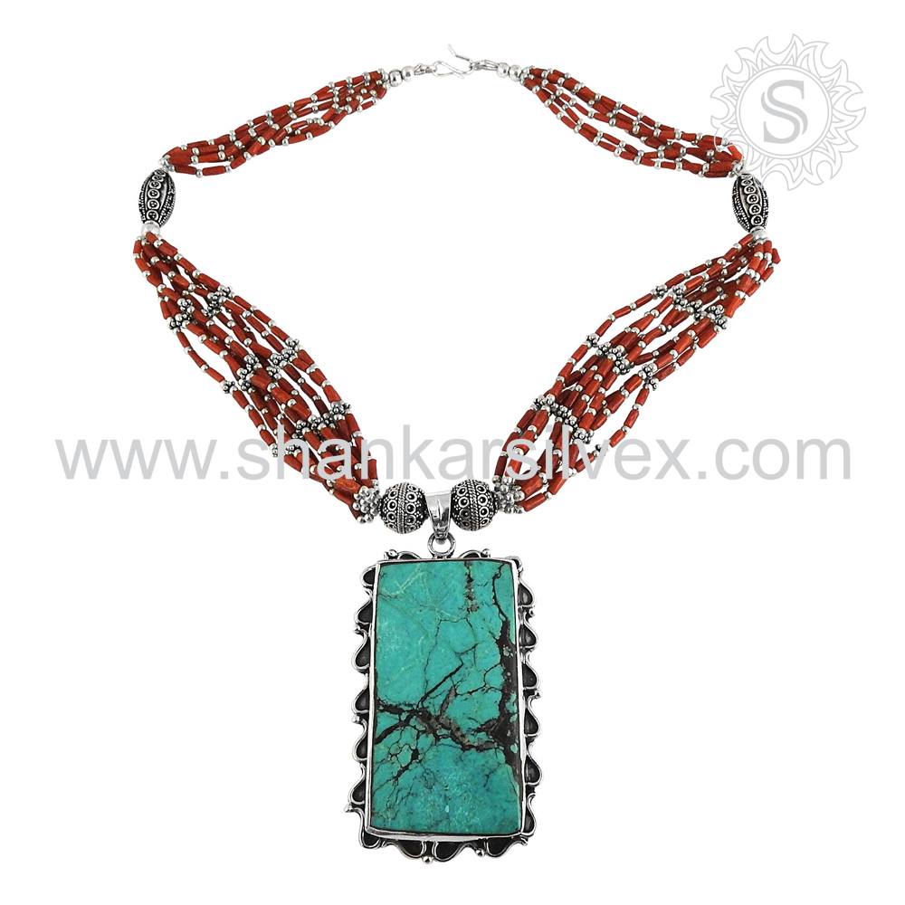 Handcrafted Coral Turquoise Beaded Necklace 925 Sterling Silver Jewelry Offers Indian Silver Jewelry