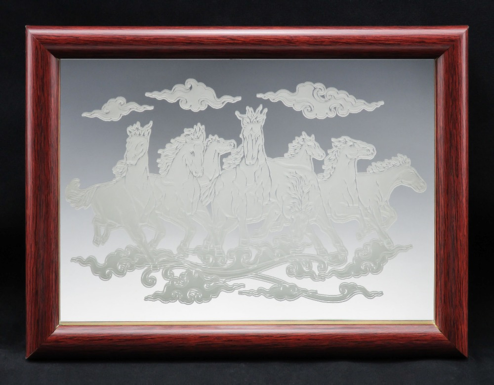 "8 Horses Fine Glass Mirror Etching TypeA Size 7"" x 5"" Inch with Picture Photo Frame"