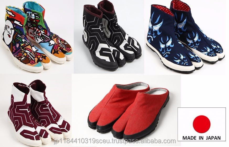Durable made in Japan shoes tabi shoes for unisex use , multi colors