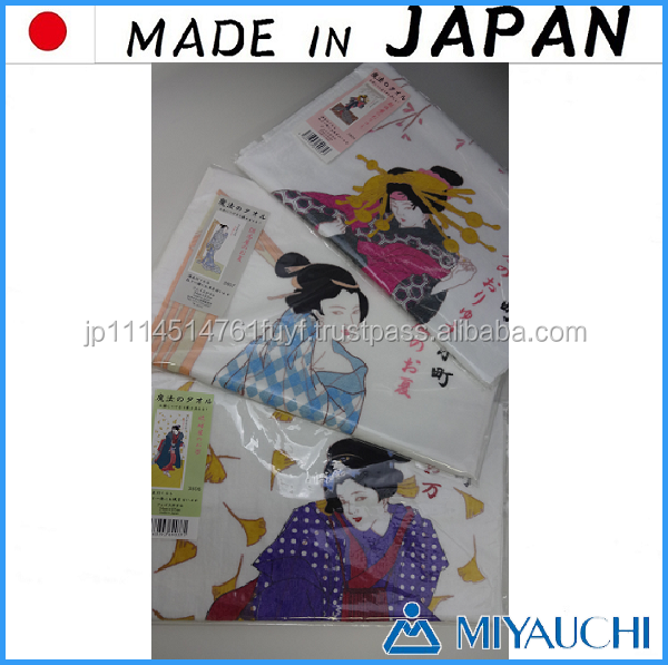 Pretty and Classic japanese girl game Ukiyo-e Magic Towel with color changes made in Japan