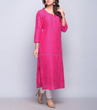 Pink Silk Cotton Chikankari Long Kurta For Girls