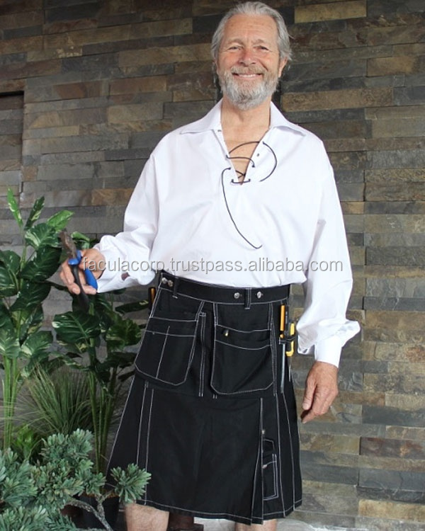 Gothic Work wear kilts for Working Men goth Skirt 100% Cotton fashion Scottish Kilts FC-14513