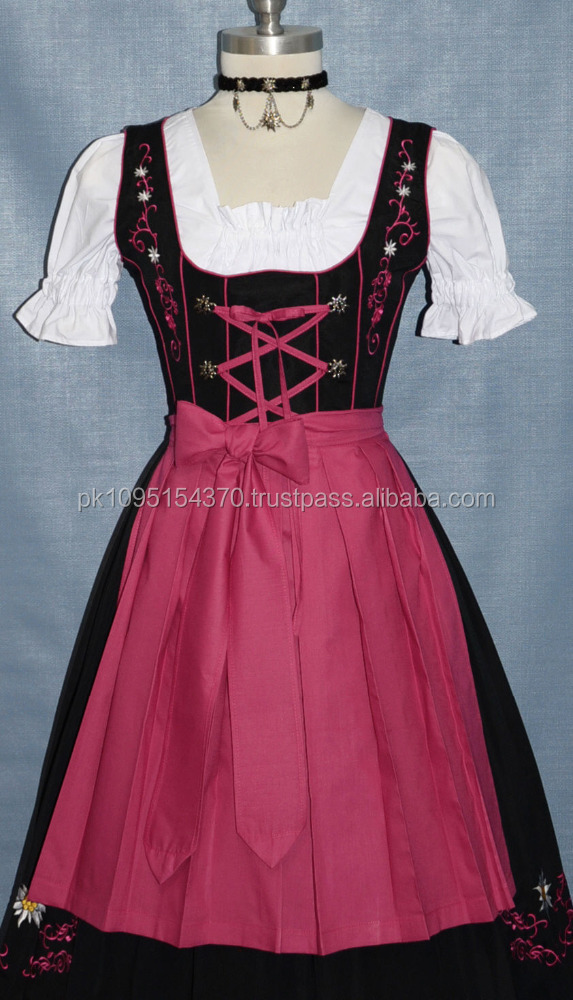 Lowest Price German Black Party Drindl Dress with Pink Apron