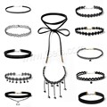 2017 Wholesale 11Pieces Choker Necklace Black Classic Velvet Stretch Gothic Tattoo Necklace