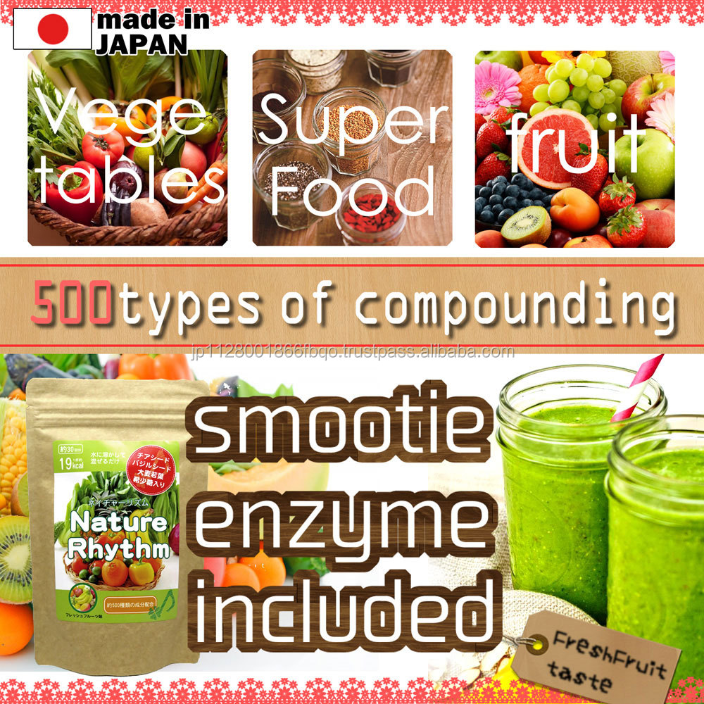 Delicious chia seed drink with 500 types of enzymes made in Japan with barley grass extract