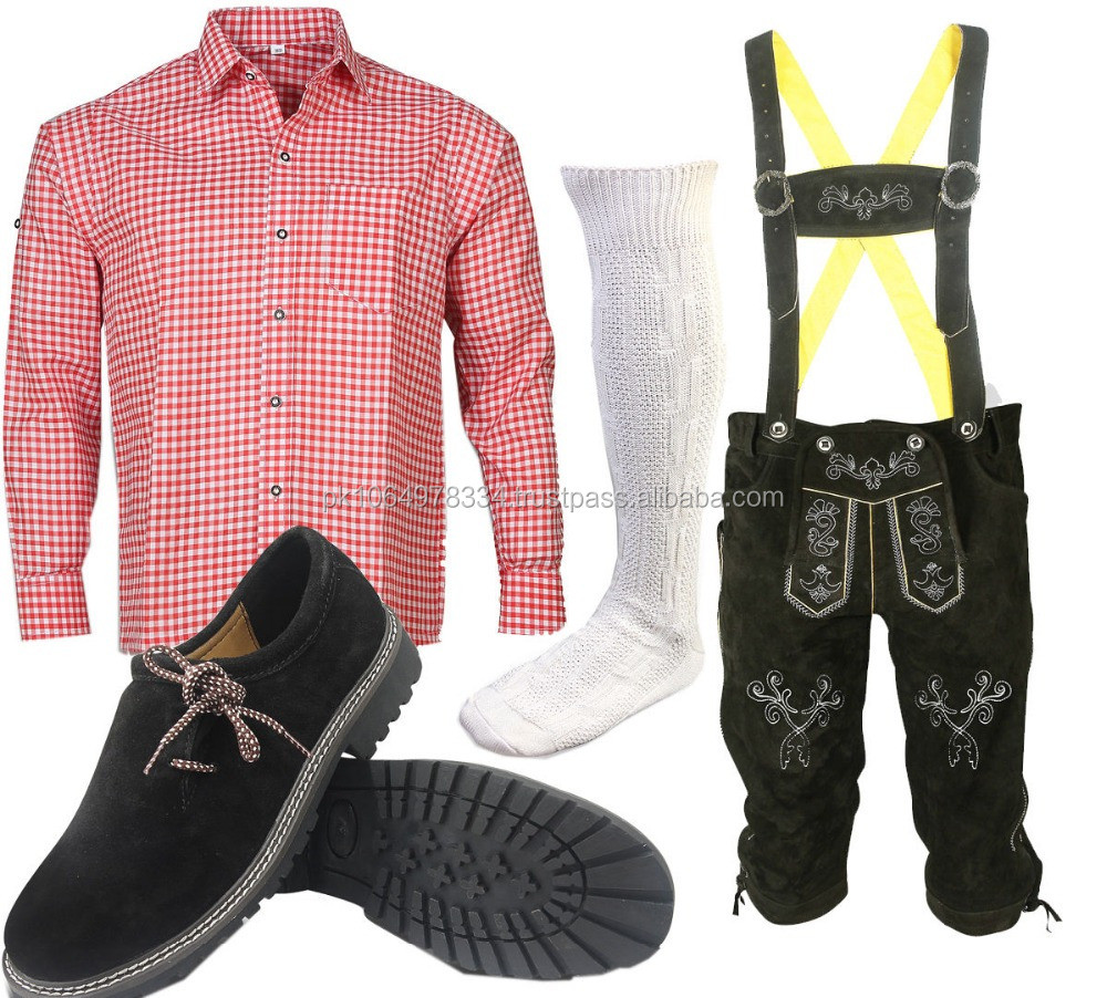 Traditional Trachten Set, Shirt + Lederhosen + Socks + Boots