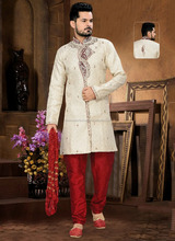 Shapeliness Gold Jacquard Mens Churidar Suit/ Kurta Wholesale/ Indian Mens Kurtas For Wedding