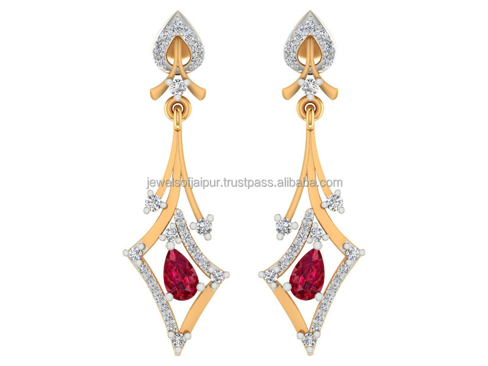 New Model Earrings Certified Natural Diamond 14k white Gold Natural Ruby Drop Dangle Earrings Jewelry