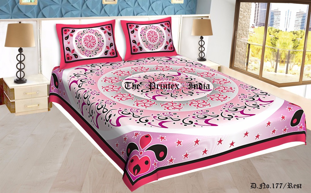 Indian 100% cotton round tapestry high quality pink color musical design bed sheet with 2 pillow covers
