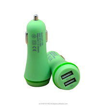 Rubber oil fast car charger with two port 2.1A dual usb car charger