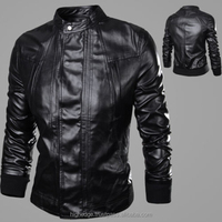 2015 New Mens fashion casual collar motorcycle Italian leather jackets coats