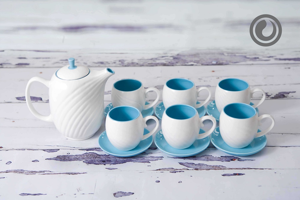 Light Blue Veined Tea Set 27oz