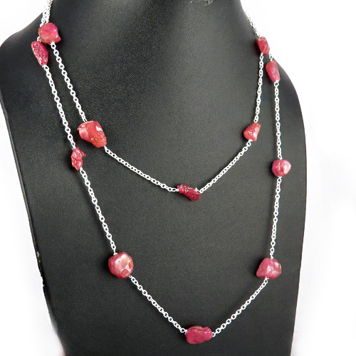 Mind Blowing Rough Shape Pink Ruby 925 Sterling Silver Gemstone Chain, Unique Silver Jewelry, Indian Jewelry Manufacturer
