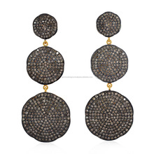 18kt Gold 925 Sterling Silver Single Cut Diamond Designer Dangle Earring Pave Jewelry