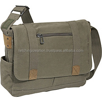 Green Colored men and women canvas cross body bag