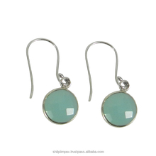 New 2017 latest gold earring designs Aqua chalcedony 925 sterling silver gemstone bezel earring