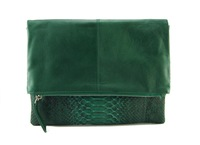 Green python and milled leather reversible foldover zip clutch with detachable strap