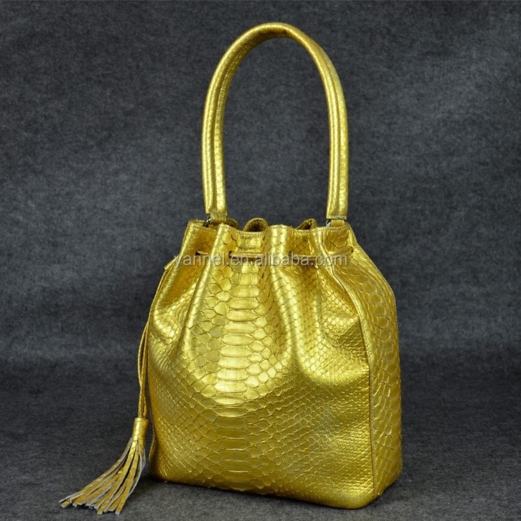 lady python leather Bucket bag everyday strap bags with long shoulder starp gold colors
