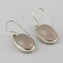 Fantasy Solid !! Pink Rose Quartz 925 Sterling Silver Earring, 2016 New Arrival Silver Jewelry, Earrings From India