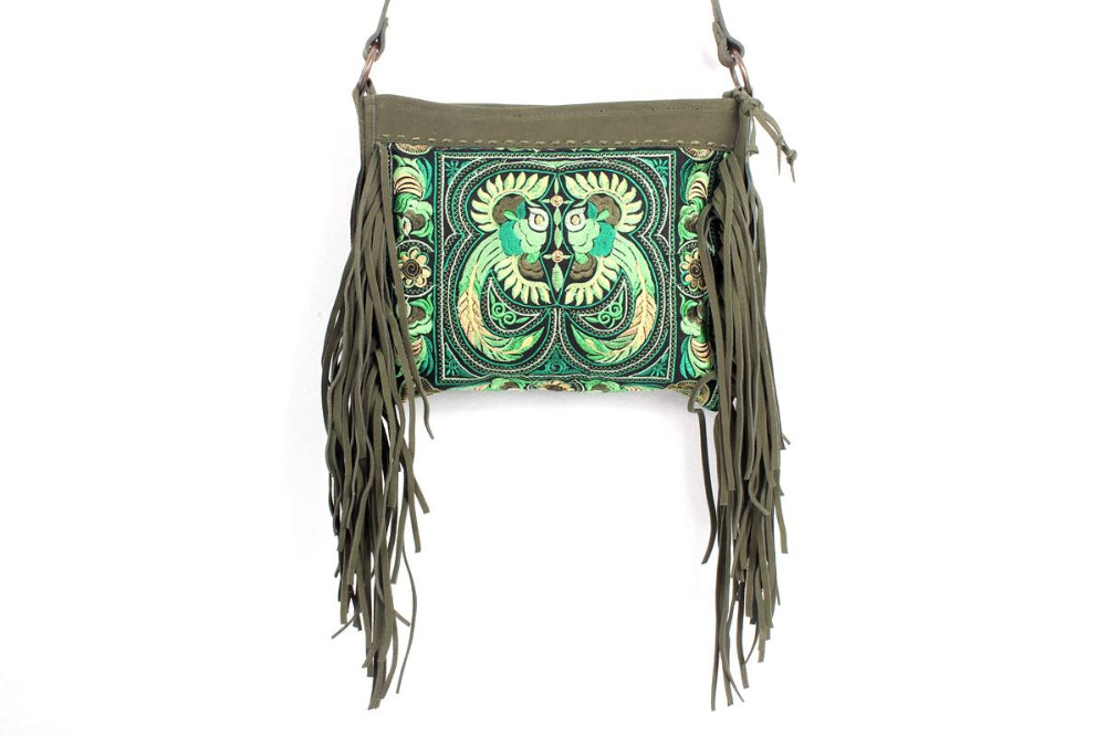 Beautiful Cross Body With A Green Bird Embroidered Pattern, Adorned With Olive Leather Tassel