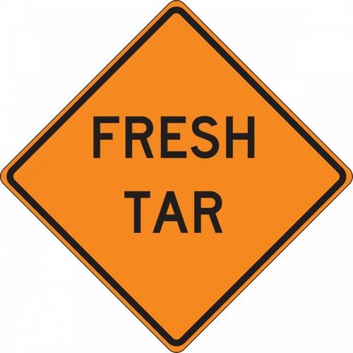 "Accuform FRC322FL, 36"" x 36"" Fluorescent Vinyl Roll-Up Construction Sign with Legend: ""Fresh Tar"""