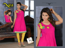Straight Lining Designer Embroidery Pure cotton Kurtis/western kurti designs