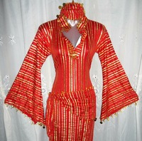 EGYPTIAN GALABEYA BALADI BELLY DANCE SAIDI DRESS COSTUME & 2 SCARVES T 144