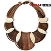 Vietnam ebony wood and sea snail necklace, wood jewelry - VN1831