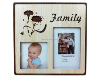 'Family' Tabletop Wooden Photo Frame for 2 Pictures with Floral Design & Engraved Lettering