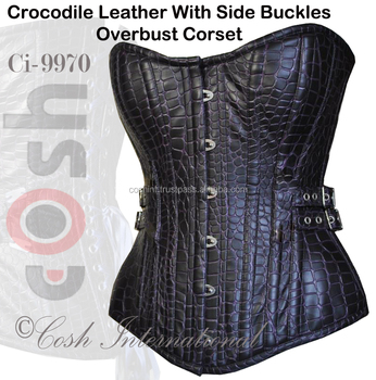Ci-9970 Crocodile Leather With Side Buckles Overbust Corset Supplier
