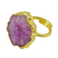 Natural Agate Stone Ring Brass Electroplated Ethnic Indian Statement Jewelry SR7640