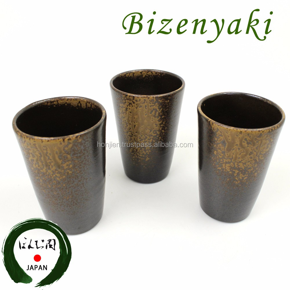Various types of Japanese sake cup ceramic with microscopic pores
