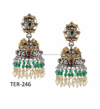 Traditional Antique Gift Multi-Tone Silver Pearl Beads Chandelier Earrings Wedding Jewelry