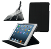 Slim line lightweight Multi-Angle shell case w/ Vegan synthetic leather, microfiber interior for iPad Mini roocase (Black)