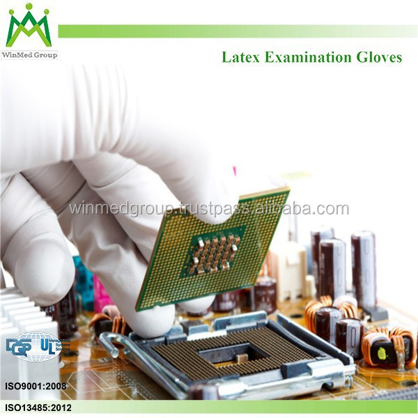 Lightly powdered Latex exam Gloves / Chemical/Material Handling job disposable gloves /Food/Laboratory / Medical rubber gloves