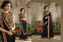 Full Saree of Lycra with Beautiful Embroidery Border & Blouse On Dhupion With Heavy Embroidery Work & Stone Work.
