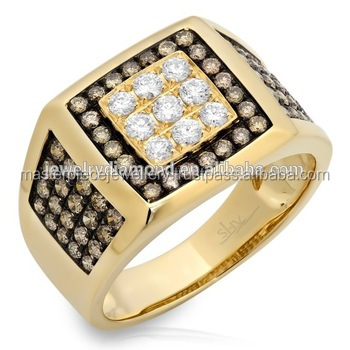 1.54CT 14K Yellow Gold White & Champagne Diamond Ring Engagement Designers Men Diamonds Price